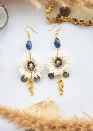 Shell, Beaded & Lapis Lazuli Earrings