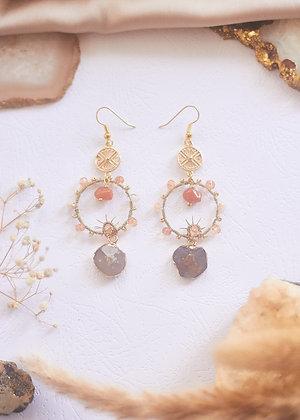 Agate Geode Slice & Carnelian Hoop Earrings