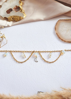 Opalite & Moon Charm Anklet