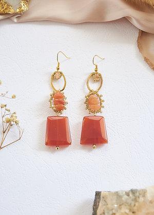 Carnelian & Gold Charm Earrings