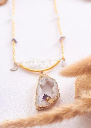 White Druzy Geode & Clear Quartz Necklace