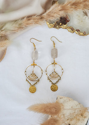 Clear Quartz & Gold Charm Small Hoop Earrings