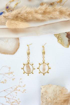 Citrine & Gold Charm Earrings