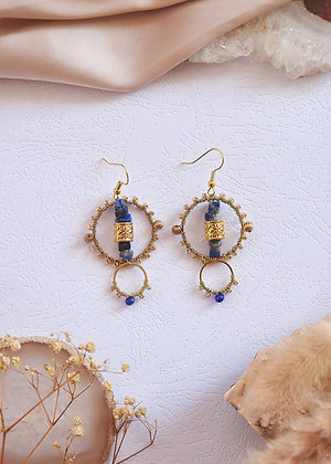 Lapis Lazuli Small Beaded Hoop Earrings