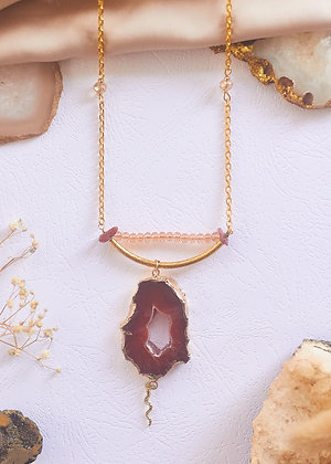 Carnelian Agate Slice & Snake Charm Necklace