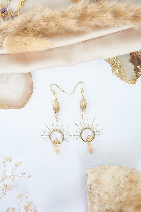 Gold Charm & Wired Sun Earrings