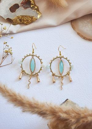 Beaded Hoop, Gold & Snake Charm Earrings