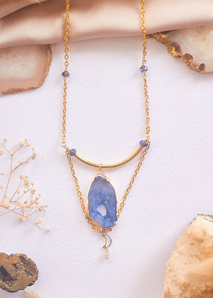 Blue Agate Slice & Moon Charm Necklace
