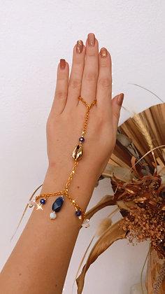 Lapis Lazuli & Gold Moon Handchain