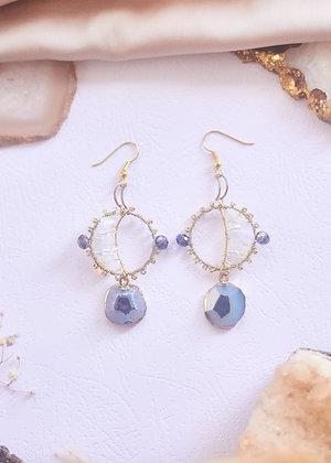 Agate Geode Slice & Opalite Hoop Earrings