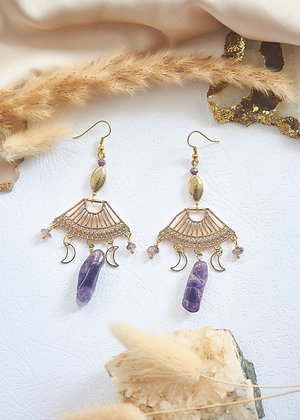 Ranee Charm & Amethyst Earrings