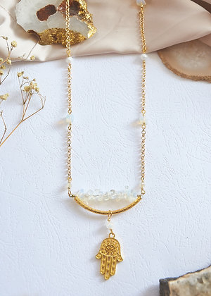 Opalite & Hamsa Necklace