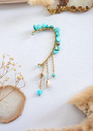 Custom - Blue Turquoise & Shell Ear Cuffs