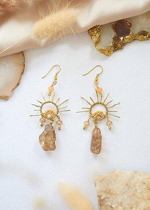 Wired Sun & Citrine Earrings
