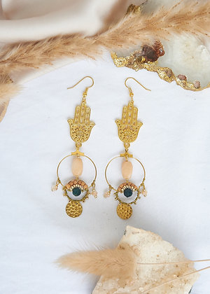 Hamsa & Peach Agate Small Hoop Earrings