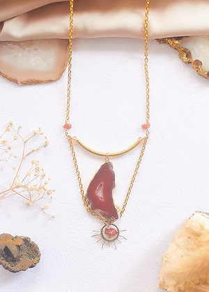 Carnelian Agate Slice & Sun Charm Necklace