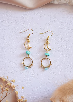 Dainty Blue Turquoise & Moon Charm Earrings
