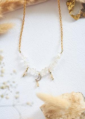 Clear Quartz & Moon Charm Necklace