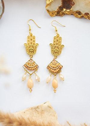 Hamsa & Diamond Beaded Earrings