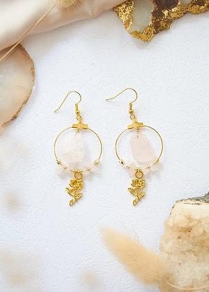 Small Hoop & Rose Quartz Earrings