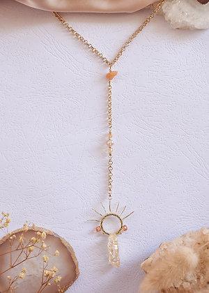 Citrine & Sun Charm Necklace