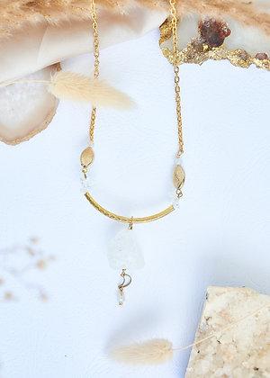 Raw Clear Quartz & Moon Charm Necklace
