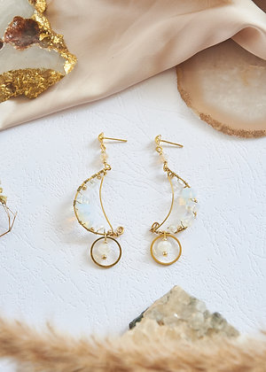 Wired Moon & Opalite Earrings