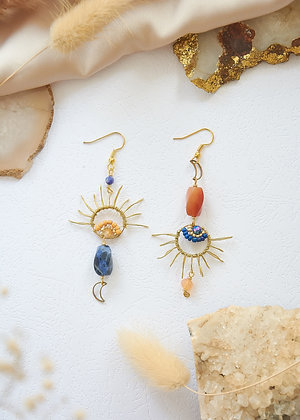 Lapis Lazuli & Carnelian Miss-matched Earrings