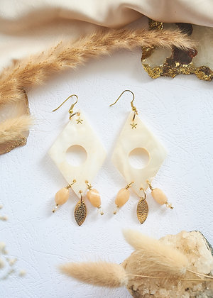 Diamond Shell & Peach Agate Earrings