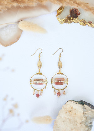 Small Hoop& Carnelian Earrings