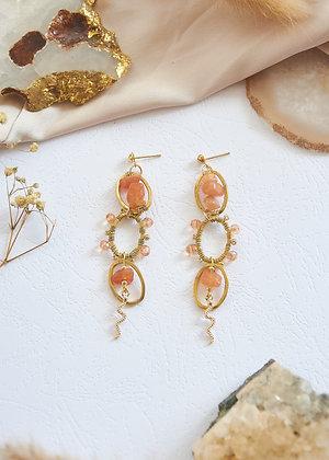 Chain Style Carnelian & Snake Charm Earrings