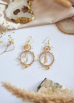 Beaded Hoop & Citrine Earrings