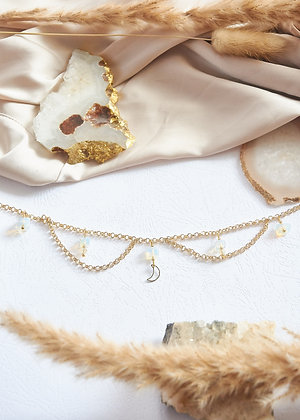 Opalite & Moon Charm Necklace