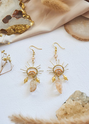 Citrine & Wired Sun Charm Earrings