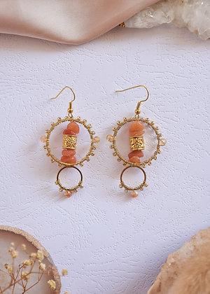 Carnelian Small Beaded Hoop Earrings