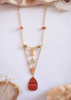 Carnelian Banded Agate & Gold Charm Necklace