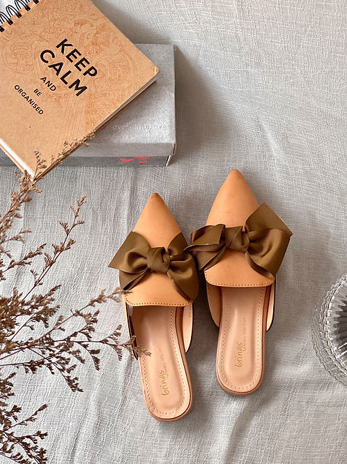 Slip On Ribbon Bow Peep Toe Flats