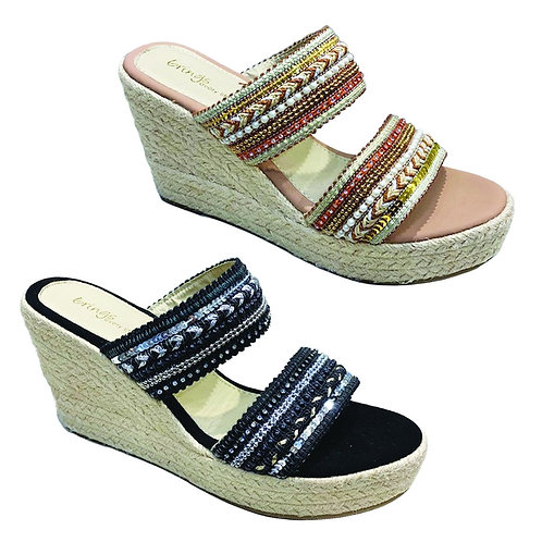 Beads Embroidery Slip On Wedges