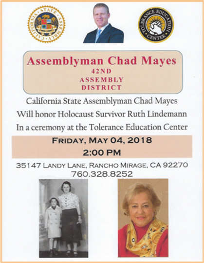 Ruth Lindemann_California State Assembly Honors_Holocaust Education.png