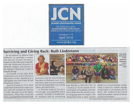 Jewish Community Newspaper Article - Ruth Lindemann 04.2018.jpg
