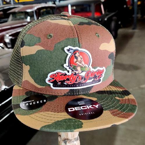 Shorty's Garage (Camo/Green) Snapback Trucker Cap