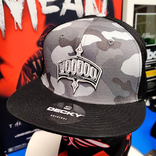 Voodoo Nation LLC. (Camo / Black & White) Snapback Trucker Cap