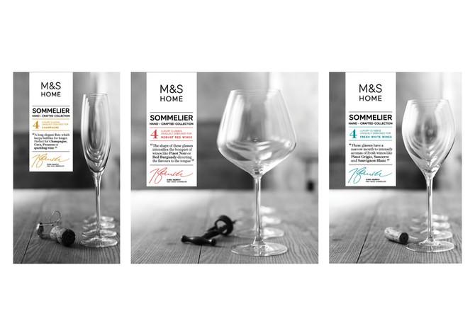 M&S   Sommelier glassware packaging