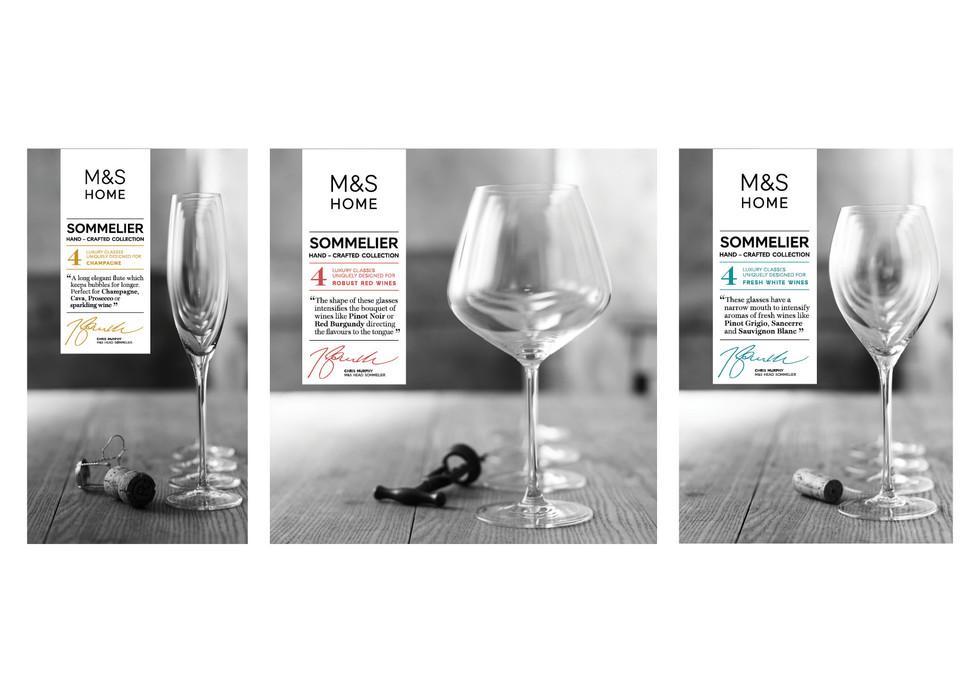 M&S | Sommelier glassware packaging