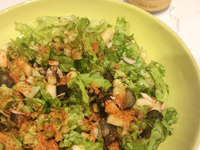 Lettuce Apple Salad with Spiced Flax Seed Dressing
