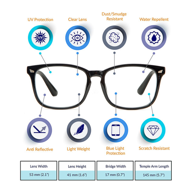 Eye glasses product photography and infographic.