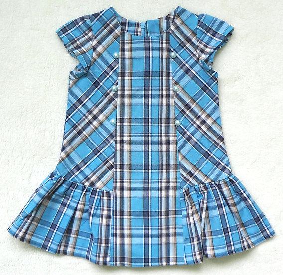 Платье клетка с бусинками