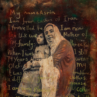 """Asrin & Mina  Country of Origin: Kurdistan - Iraq & UK  Caption written on the artwork reads: """"My name is Asrin, I am from Eastern Kurdistan, which is located in the country of Iran.   I travelled to the UK with my family when I was 14 years old.  It was a difficult journey.  I am very pleased to live in a safe country now and I am the mother of 3 kids.  I still wear my traditional clothes because my culture and nationality are still very important to me."""" Refugee Stories  PhotoEast Festival © Gillian Allard Photographic print bonded to OSB ply board - finished with graffiti paints and sealed. Approx 120cm x95cm"""