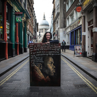 I exhibited Refugee Stories  at St Mary's Aldermary close by St Paul's Cathedral for the Moot Community - 2019 with the kind help of Anna Matthews.  Refugee Stories 2018 PhotoEast Festival © Gillian Allard