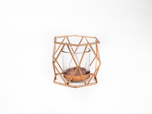 Fern Geometric Tealight in Copper